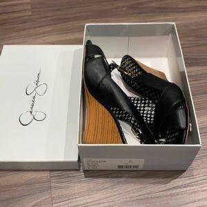 Women's 9.5 Jessica Simpson black wedge sandals